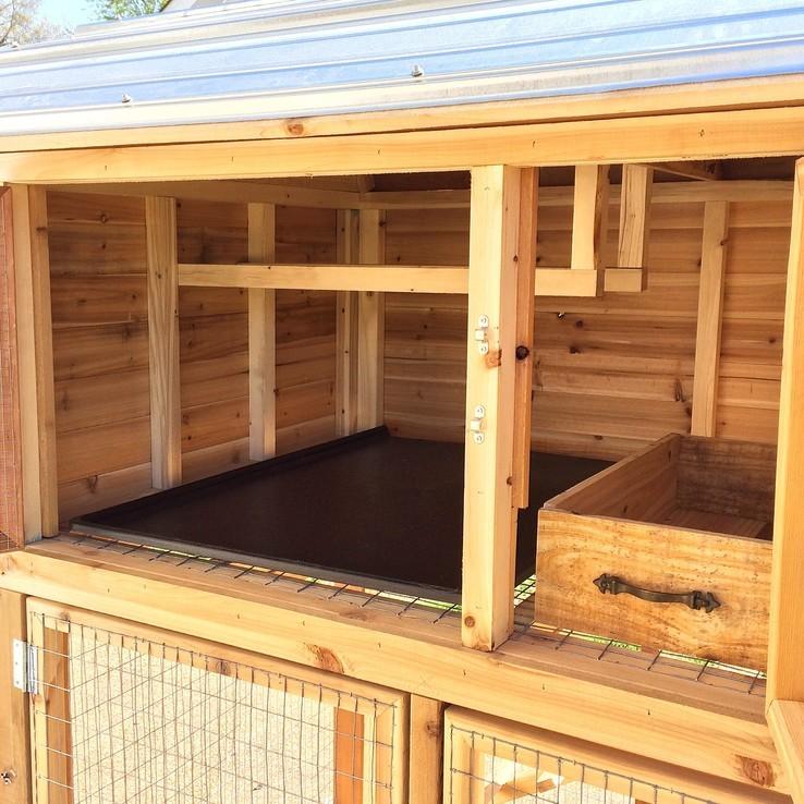 inside view of cedar chicken coop